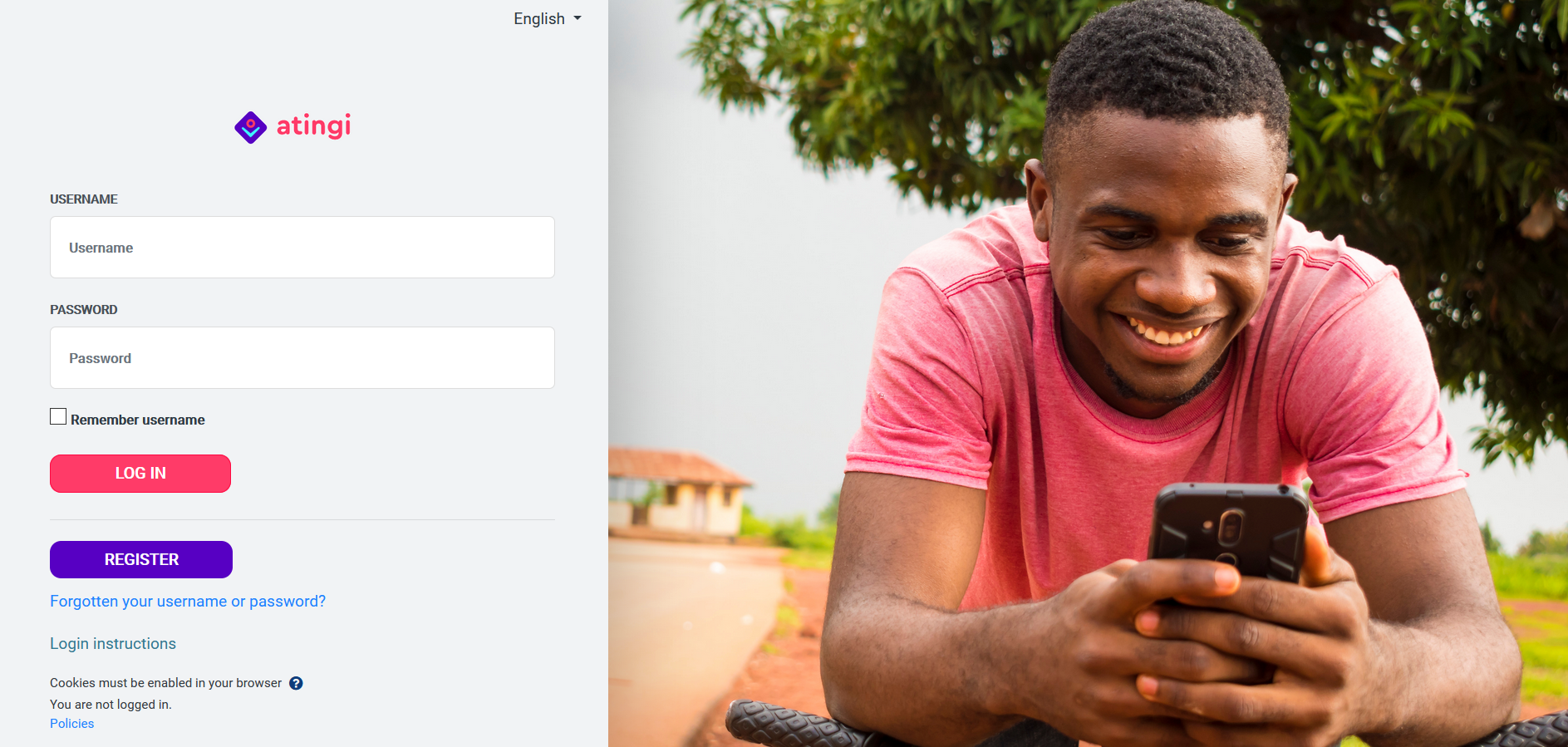 Close-up Atingi platform free learning content for students, entrepreneurs and professionals