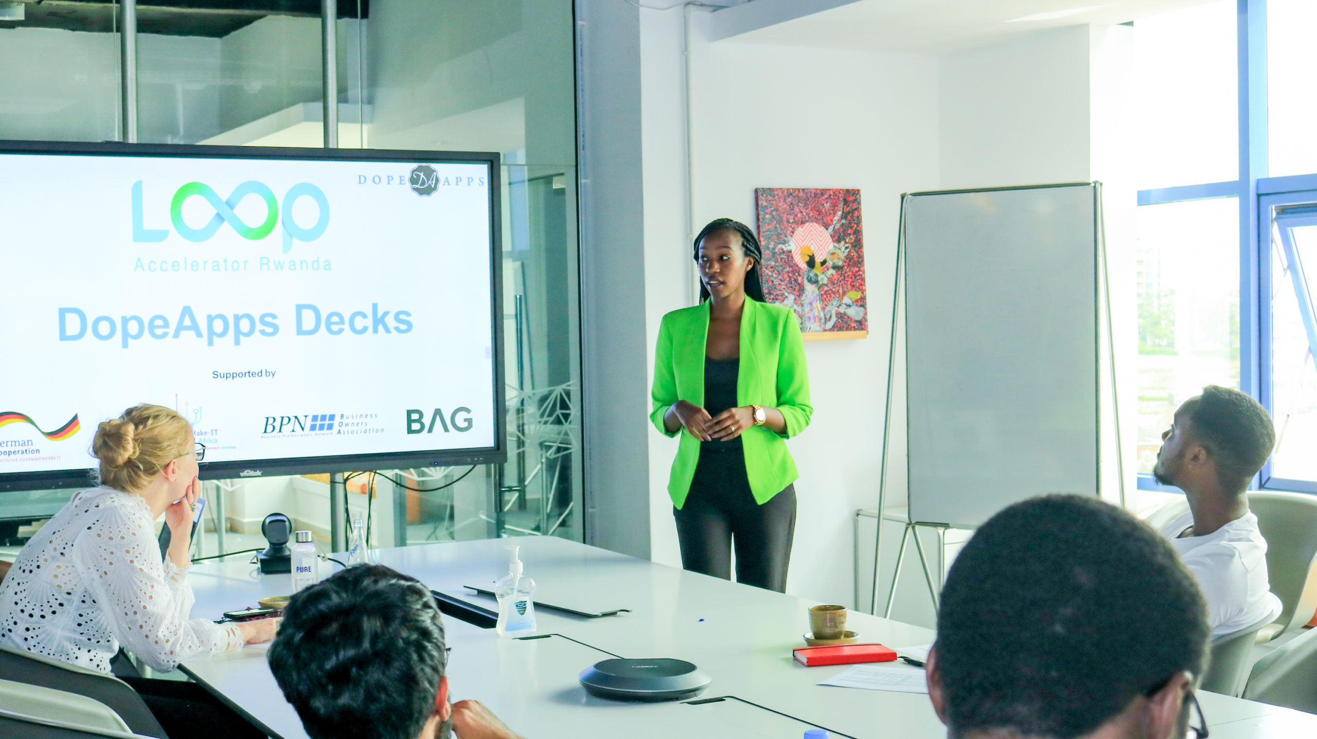 Startups presenting their products and services at the Loop Accelerator in Kigali Rwanda